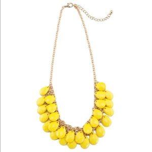 Lemon yellow teardrop bib necklace